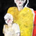 Mutter mit Kind, Acryl auf Papier