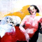 Frau mit Katze Acryl auf Leinwand