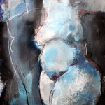 Akt blau Arcyl auf Leinwand