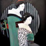 Geishas Acryl auf Leinwand