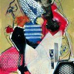 Vogelfeld Acryl/Lackstift/Collage auf Papier 2020