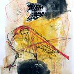 Rabenschwarz Acryl/Oelstift/Collage auf Papier 2020