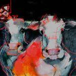 Kühe Rotrandig Acryl/Oelstift auf Leinwand 2020