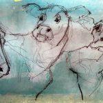 Kuhparade Acryl/verschiedene Stift auf Papier 2020