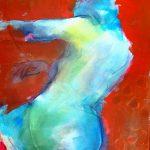 Rückenakt Blau Acryl auf Leinwand 2020 60×80